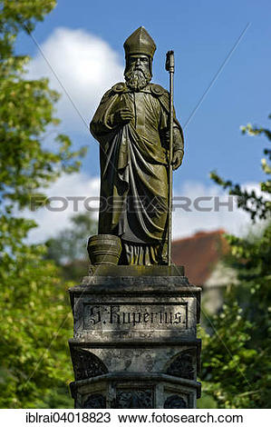 "Stock Photo of ""Fountain statue, St. Rupert of Salzburg, Alte."