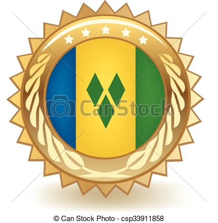 Clipart Vector of Saint Vincent Badge.
