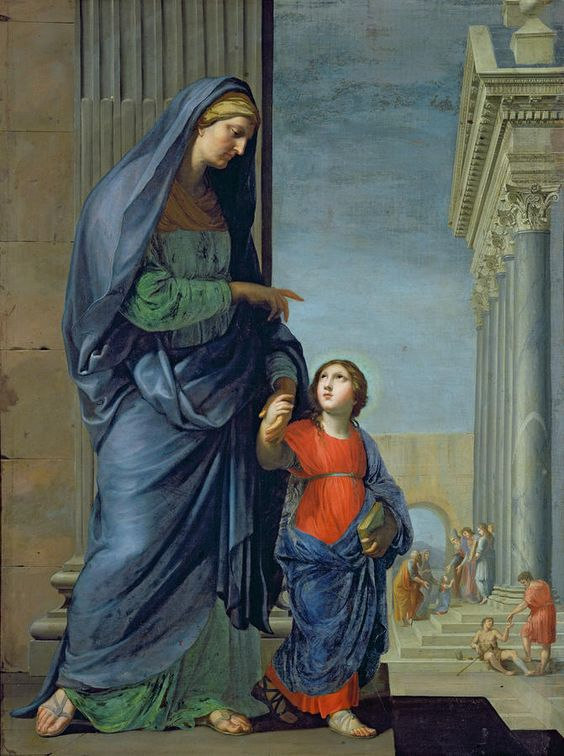 Saint Anne Leading The Virgin To The Temple Painting.