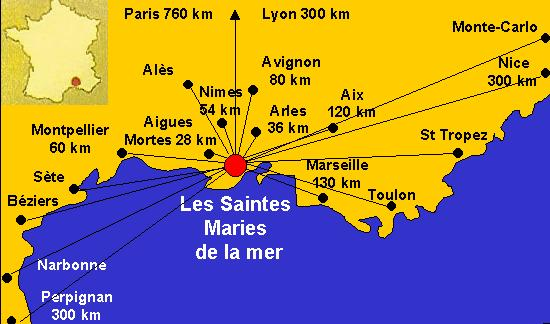 Situation géographique des Saintes Maries de la mer.