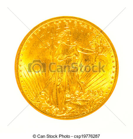 Pictures of Gold St Gaudens Coin Isolated.