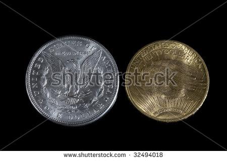 Morgan Silver Dollar And Saint Gaudens Gold Twenty Dollars. Back.