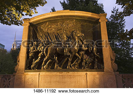 Stock Photo of Monument to The Shaw 54th Regiment by Augustus.