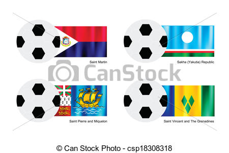 Vector Clip Art of Football of Saint Martin, Sakha, Saint Pierre.