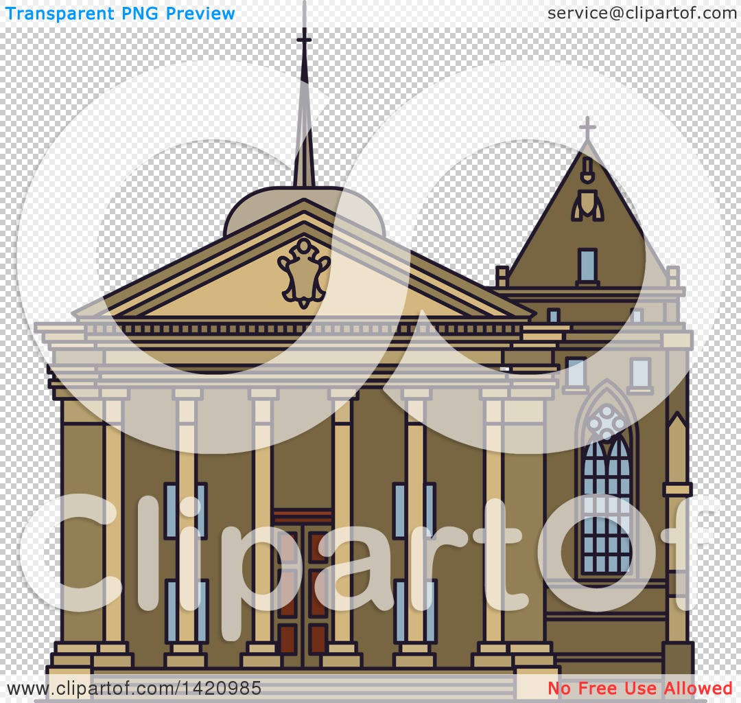 Clipart of a Switzerland Landmark, St. Pierre Cathedral.