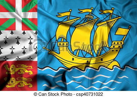 Clip Art of Waving Flag of Saint Pierre and Miquelon (unofficial.