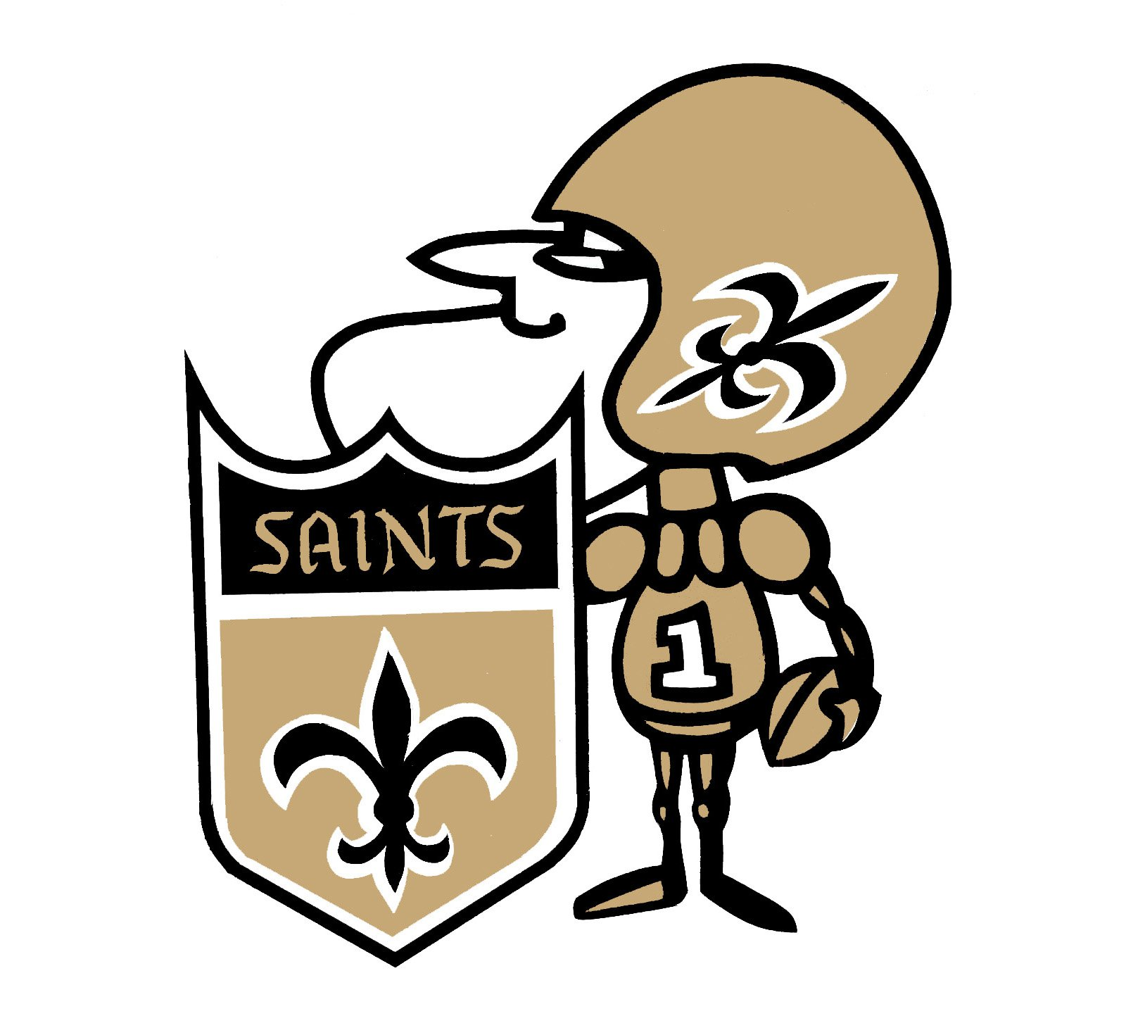 Meaning New Orleans Saints logo and symbol.