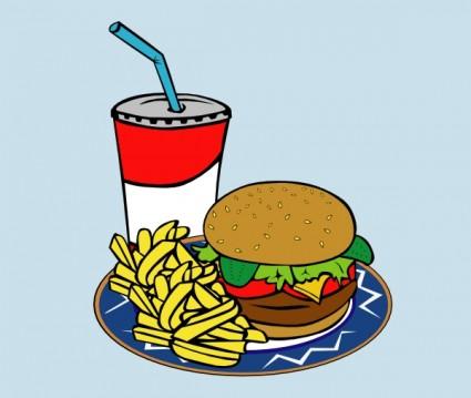 Kentang Goreng Burger Soda Makanan Cepat Saji Clip Art.