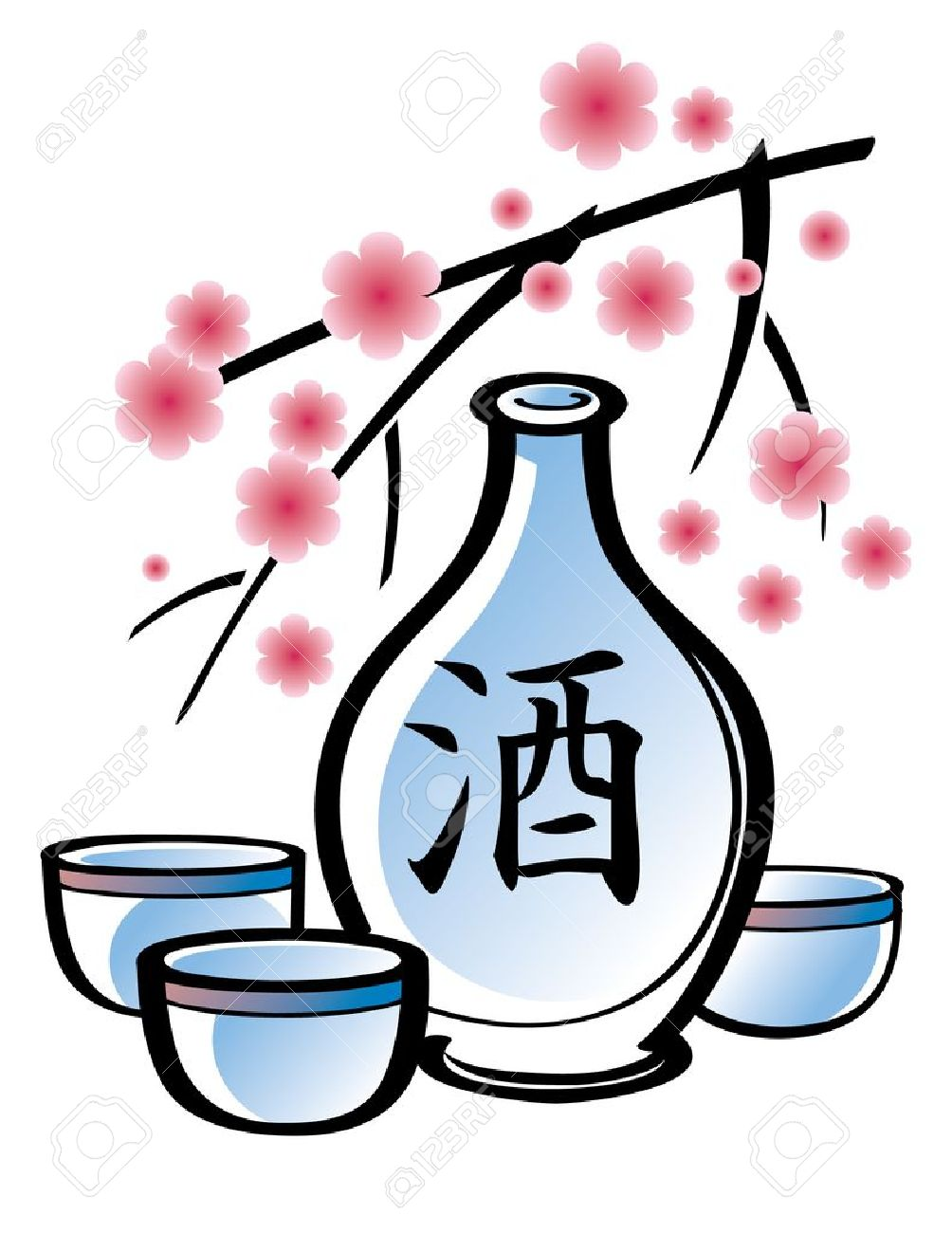 Porcelain Bottle Of Sake With Sakura Branch Royalty Free Cliparts.