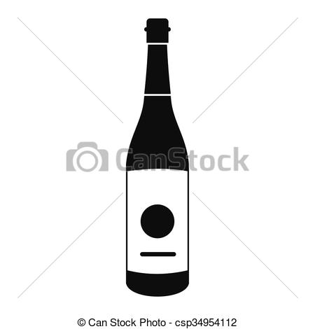 Vector Clip Art of Sake bottle icon, simple style.