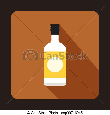 EPS Vector of Sake bottle icon, flat style.