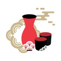 Sake bottle and cups Vector Image.