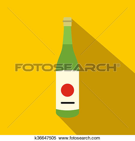 Stock Illustration of Sake bottle icon, flat style k36647505.