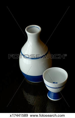 Stock Photograph of sake bottle and sake cup x17441589.