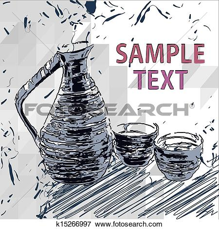 Clip Art of Sake bottle and cups , vector drawings k15266997.