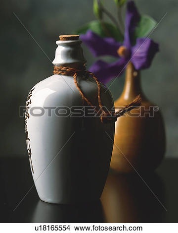Stock Photo of Flower vase and flower and sake bottle u18165554.