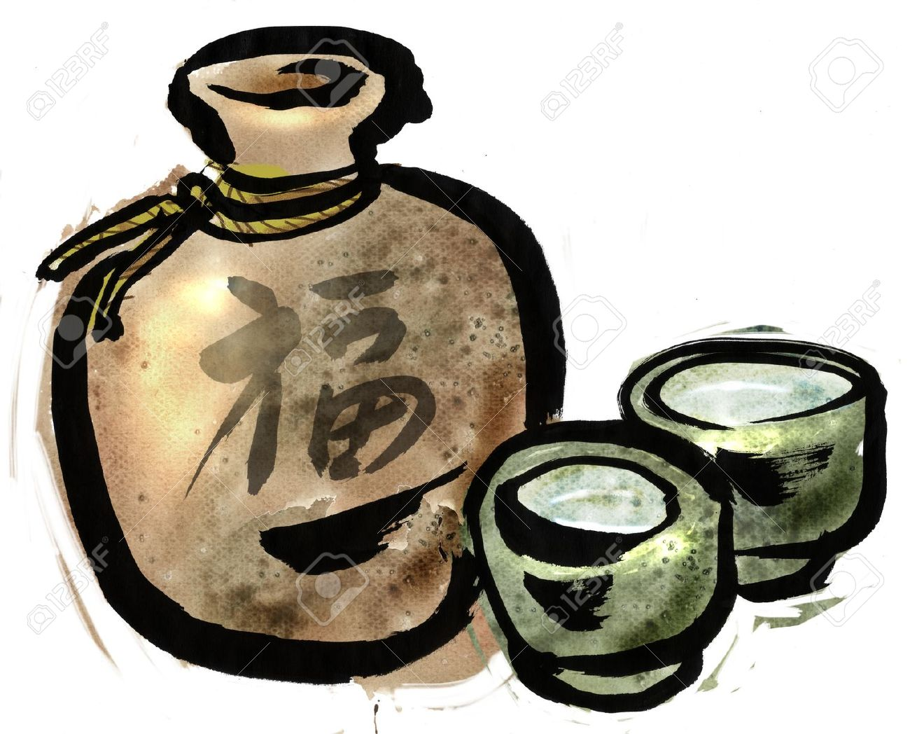 A Sake Bottle And Liquor Stock Photo, Picture And Royalty Free.