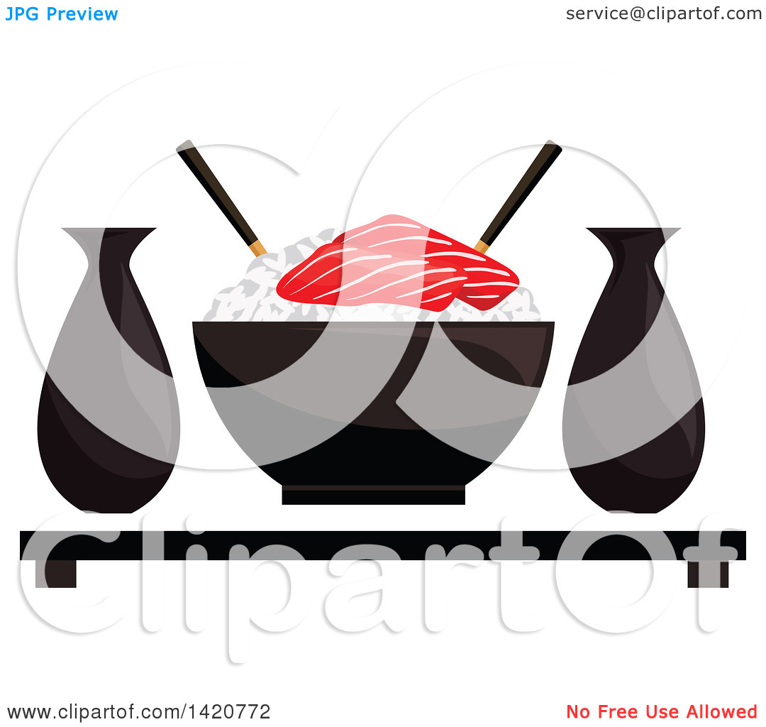 Clipart of a Bowl of Sticky Rice with Salmon Sashimi, Sake and.