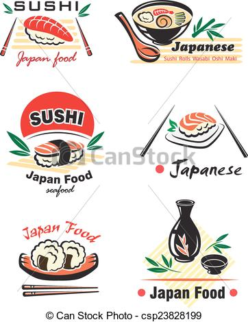 EPS Vectors of Japanese seafood set with sushi, rolls, sake.