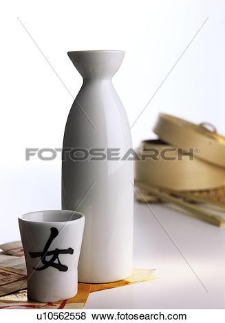 Pictures of Japanese sake carafe with a sake cup u10562558.