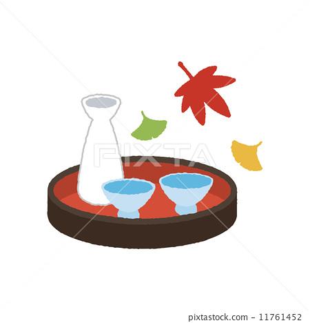 sake cup, sake bottle, autumnal.