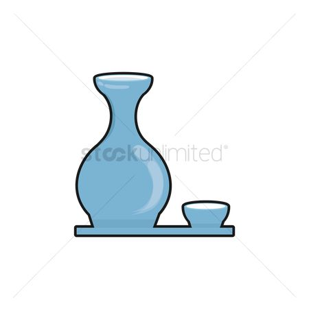 Free Sake And Cups Stock Vectors.