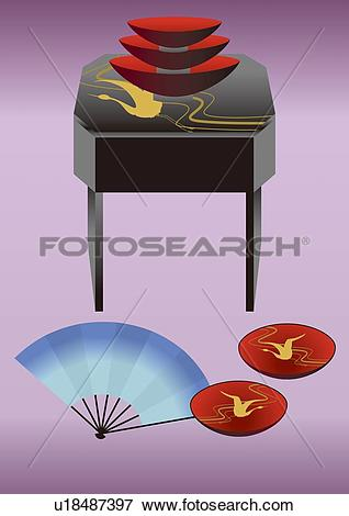 Stock Illustration of Sake Cups and Japanese Fan, Painting.