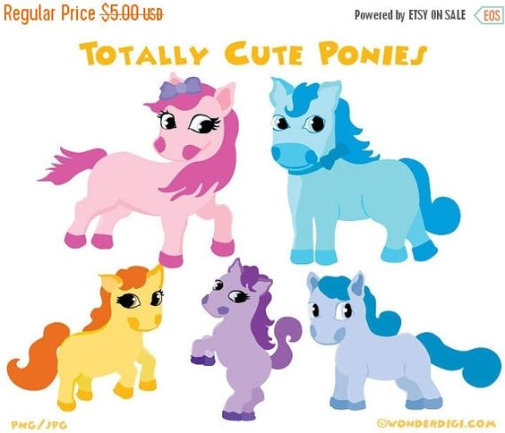 Clipart SALE Pony Clipart Clip art Ponies Characters.
