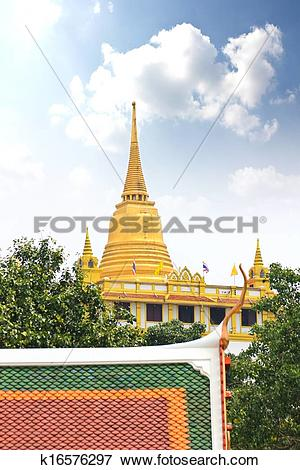 Picture of Golden mountain, an ancient pagoda at Wat Saket temple.