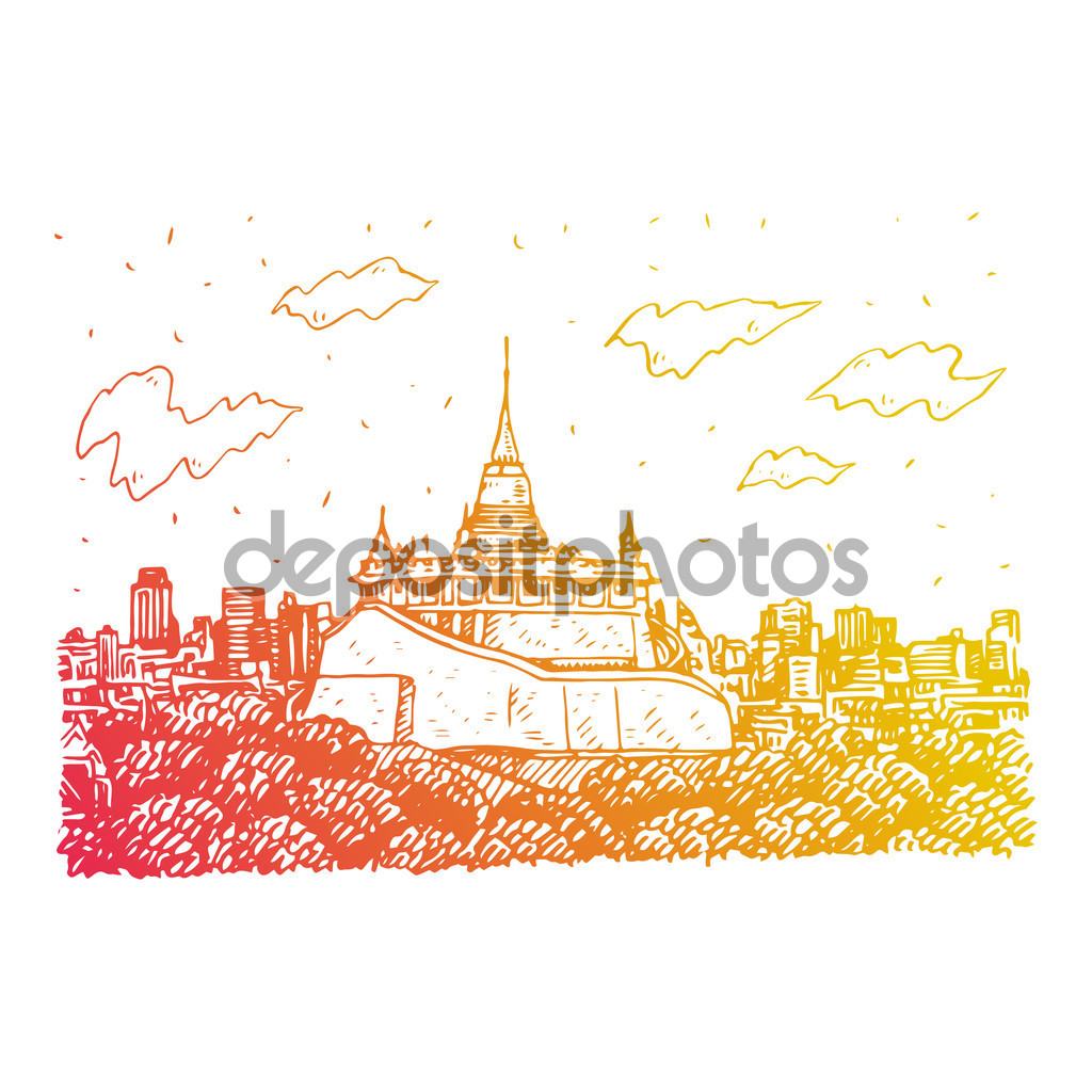 The Golden Mount at Wat Saket in Bangkok, Thailand. — Stock Vector.