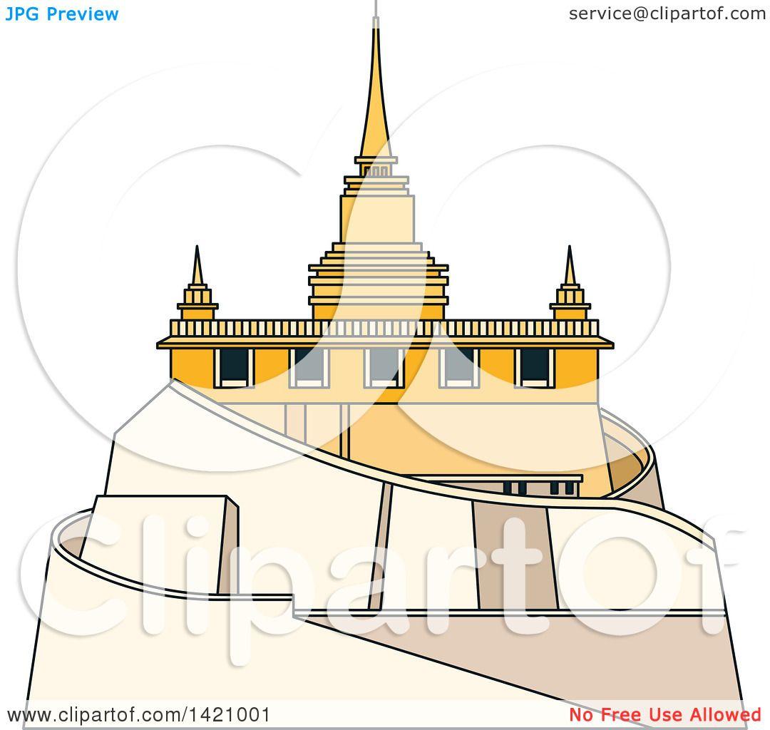 Clipart of a Thailand Landmark, Saket.