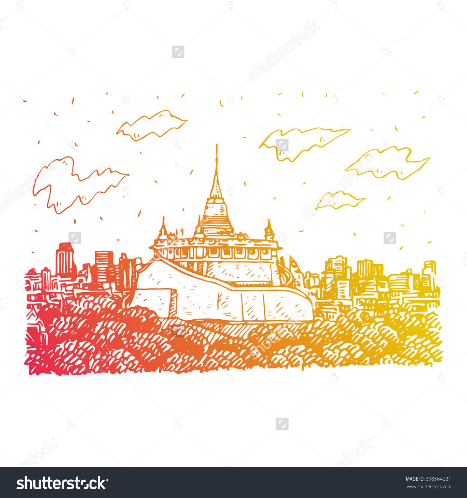 The Golden Mount At Wat Saket In Bangkok, Thailand. Sketch By Hand.