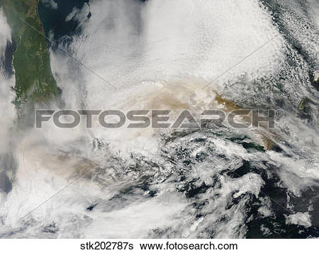 Stock Images of Volcanic ash plumes from Sarychev Peak blowing.