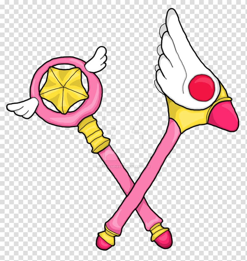 Pink, yellow, and white Sailor Moon staffs art, Cerberus.