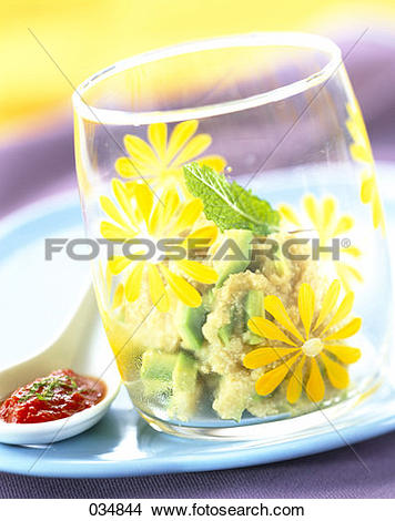 Stock Photo of semolina salad with diced avocado 034844.