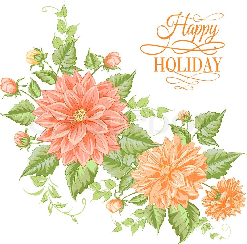 Chrysanthemum holiday card for your design. Vector illustration.