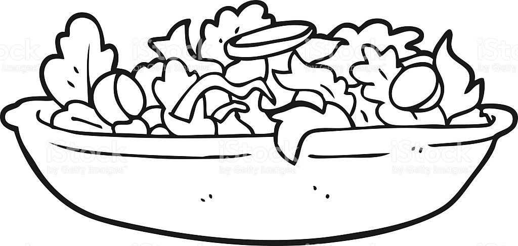 Black And White Cartoon Salad Stock Vector Art 518888890.