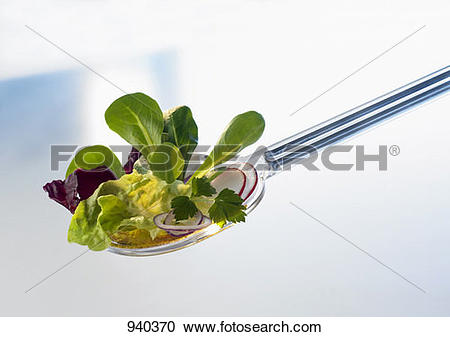 Stock Photography of Assorted salad leaves on a salad server.