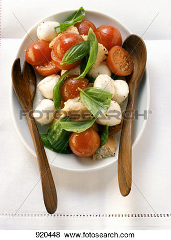 Pictures of Bread salad with tomatoes, mozzarella, basil; salad.