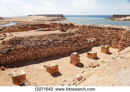 Stock Photo of Khawr Rawri inlet seen from Sumhuram site, near.