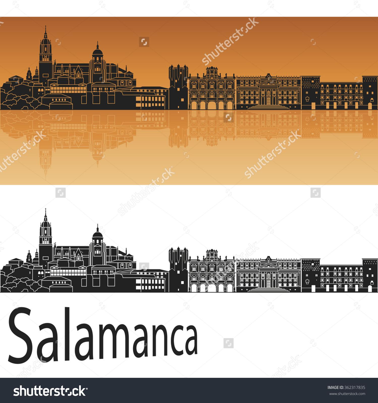 Salamanca Skyline Orange Background Editable Vector Stock Vector.