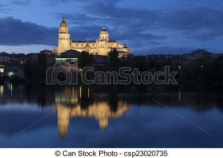 Drawings of Cathedral of Salamanca, Castilla y Leon, Spain.