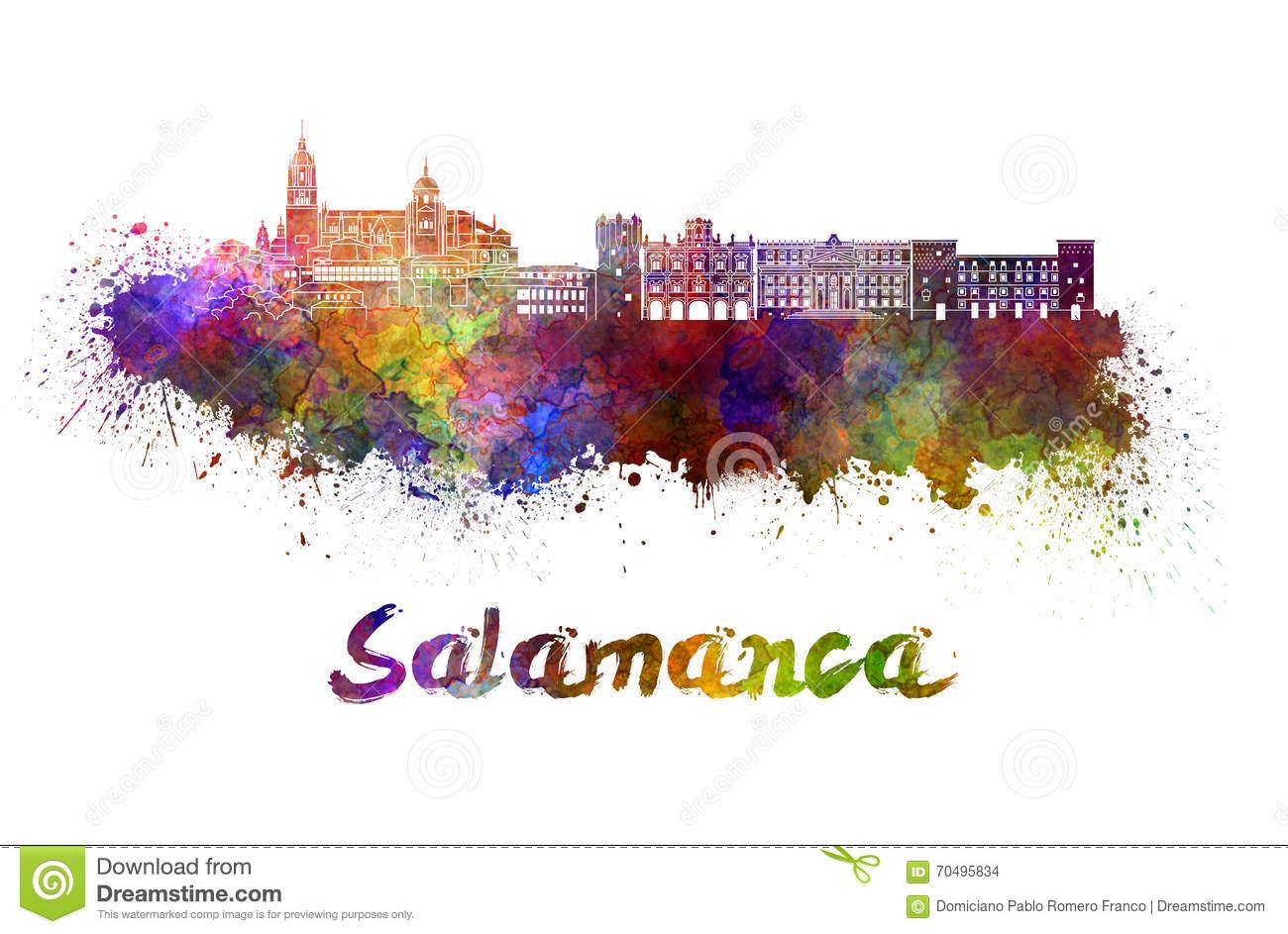 Salamanca Skyline In Watercolor Stock Illustration.
