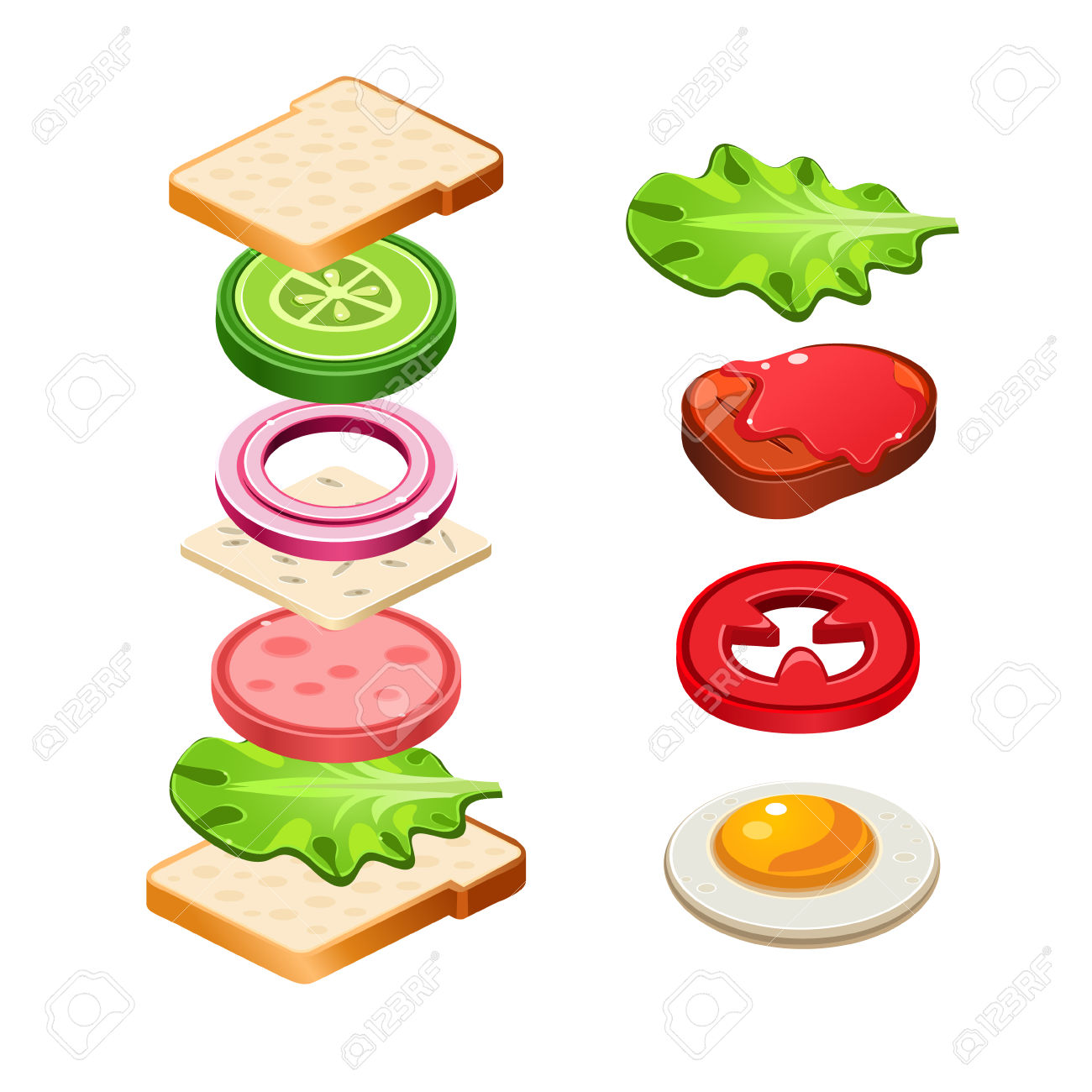 Sandwich Ingredients Food Emblem With Bread Onion Cucumber Tomato.