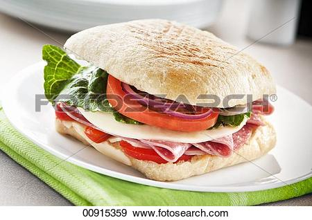 Stock Photograph of Salami and Cheese Sandwich with Lettuce.