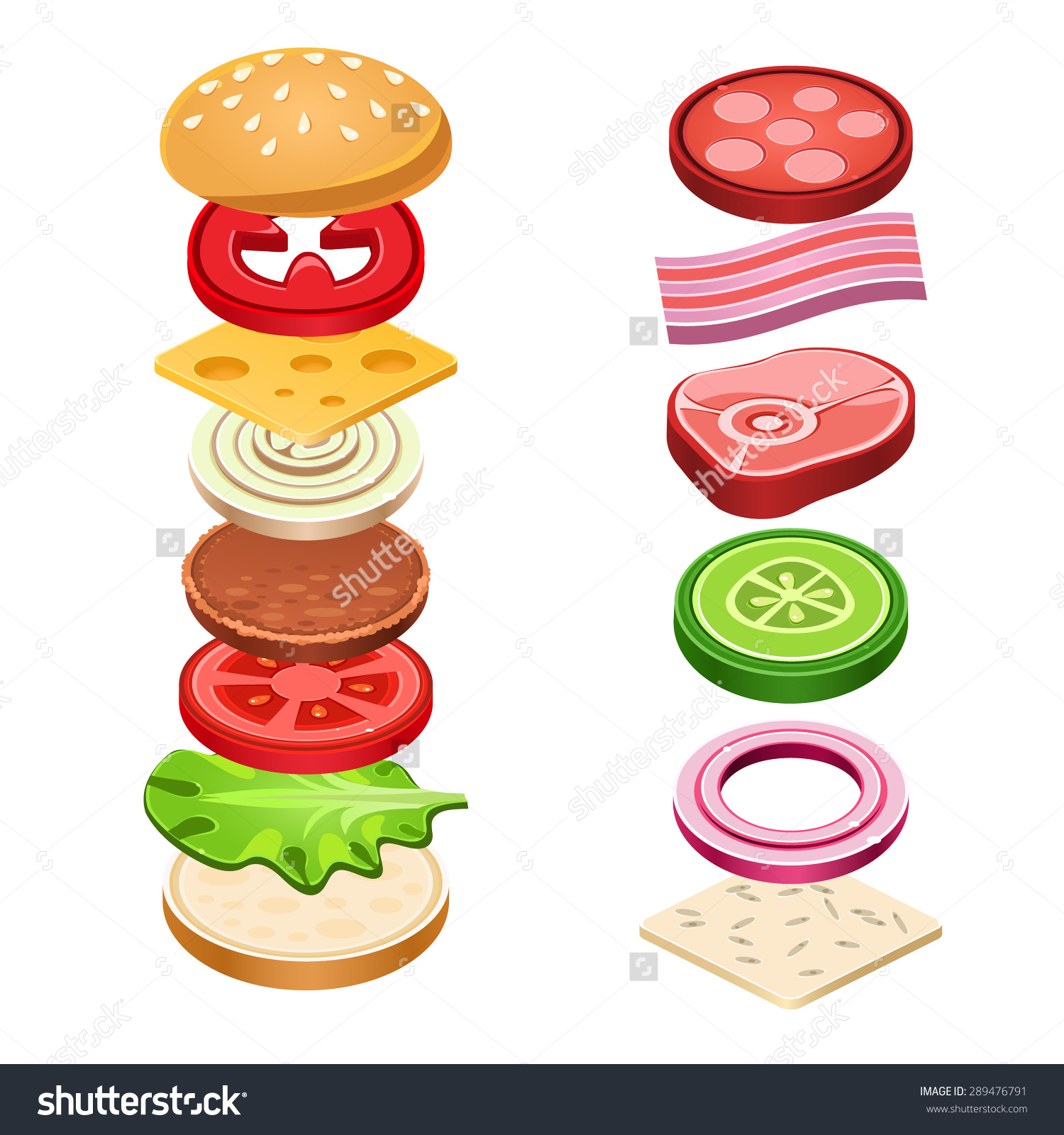 Sandwich Ingredients Food Emblem Bread Onion Stock Vector.
