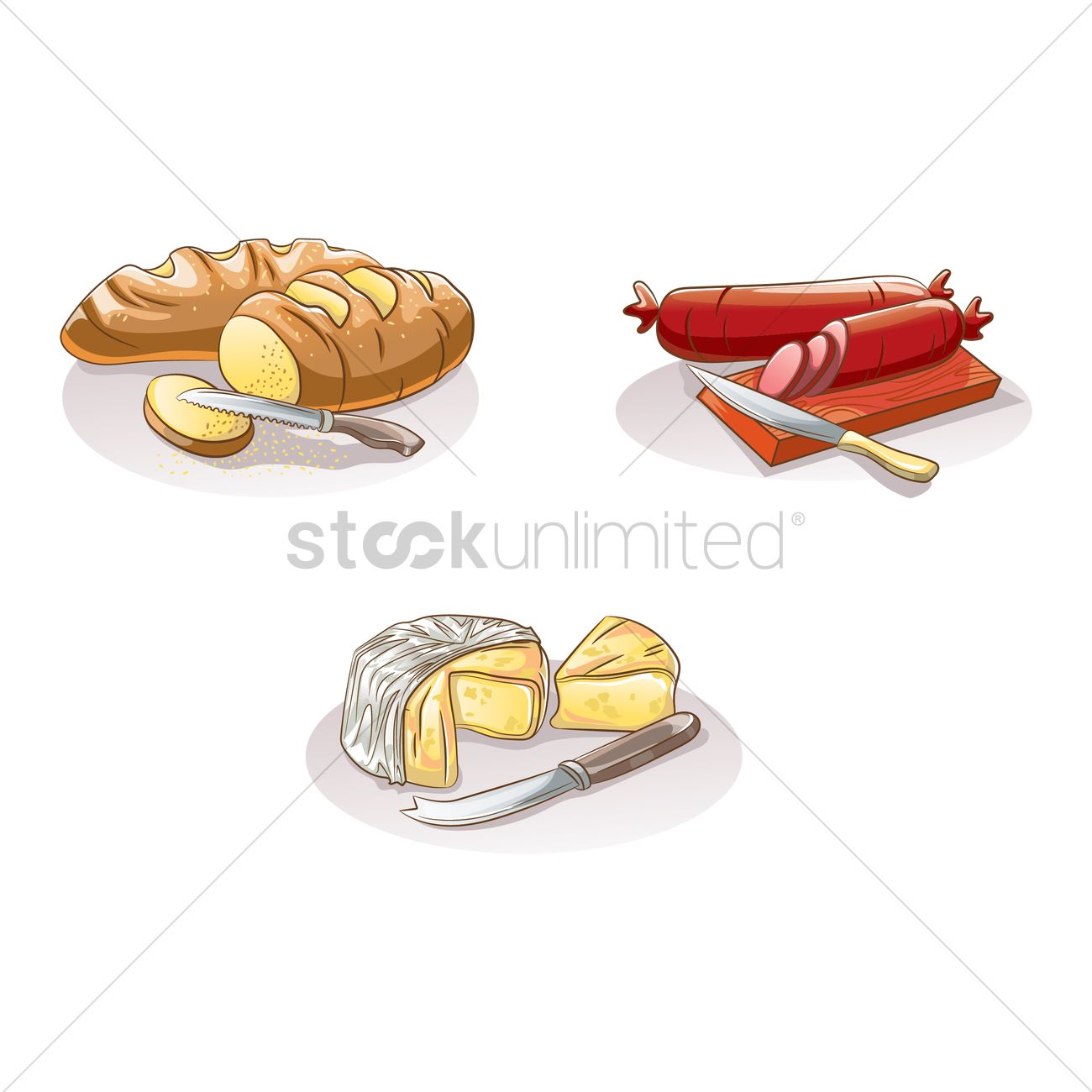 Sliced bread, salami and cheese Vector Image.