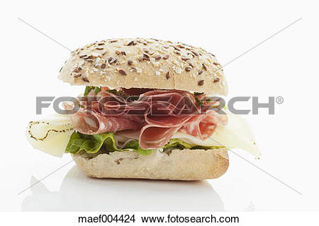Stock Photo of Bread roll with salami, cheese, tomatoes, lettuce.
