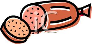 Cold Cut of Salami Clipart Image.
