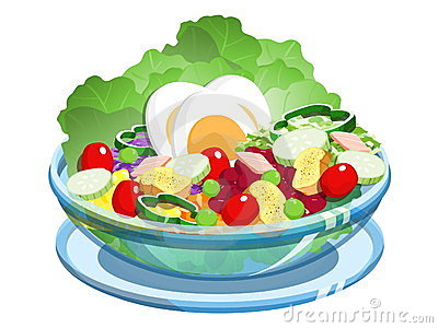Salad Bowl Stock Illustrations.